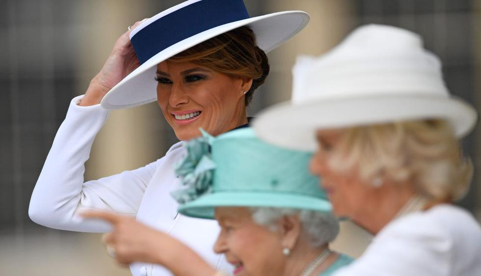 Melania Trump lució vestido de Dolce & Gabbana para reunión con la reina Isabel. (Foto: AFP)