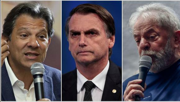 El candidato del Partido de los Trabajadores, Fernando Haddad, y el ex mandatario, Lula da Silva, arremetieron contra su rival en las elecciones para la presidencia de Brasil, Jair Bolsonar (al centro). (Reuters/AFP/AP)