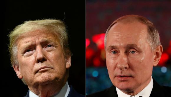El presidente de Estados Unidos, Donald Trump, y su homólogo de Rusia Vladimir Putin. (Fotos JIM WATSON y EMMANUEL DUNAND / AFP).