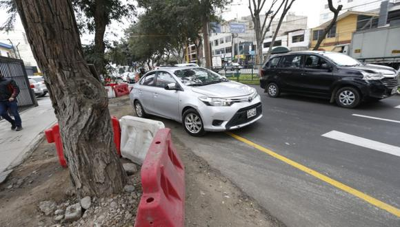 Como medida preventiva, Emape colocó una barrera alrededor de los árboles que habían quedado desprotegidos por el asfaltado del tercer carril. (Mario Zapata /GEC)