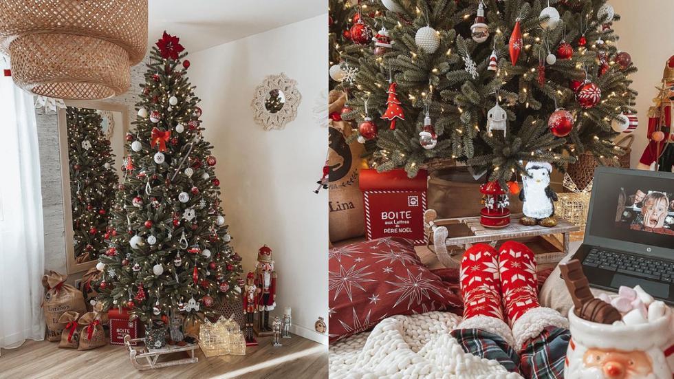 Si eres amante de la Navidad y tienes niños en casa, una buena opción es optar por uno de los colores más típicos de esta festividad: el rojo. Decora tu árbol con esferas de tonalidad que combinen como plateado y llena los alrededores de muñecos, renos y otros adornos.  (Fotos: IG @aventuremaisondeco)