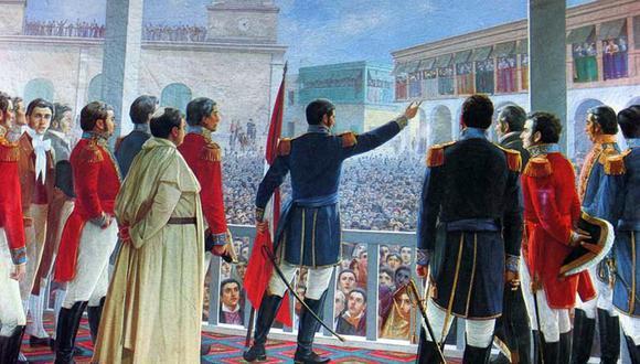 Óleo de Juan Lepiani que retrata el momento en el que San Martín proclama la Independencia del Perú frente a la multitud reunida en la Plaza de Armas de Lima. Se exhibe en el Museo Nacional de Arqueología, Antropología e Historia del Perú.