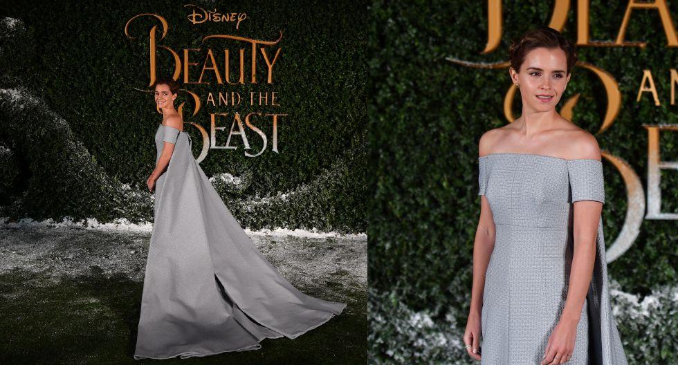 Para la premiere en Europa, Watson llevó un vestido de moda sostenible, diseñado por Emilia Wicksteaden color azul empolvado y con una enorme capa de princesa. (Fotos: AFP)