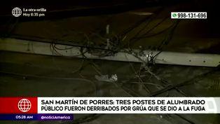 San Martín de Porres: grúa se da a la fuga luego de derribar tres postes de alumbrado público