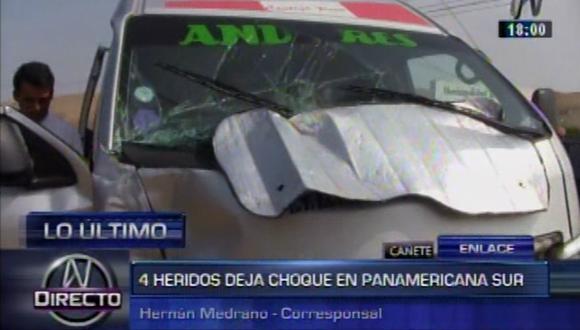 Panamericana Sur: 4 heridos en choque de dos minivan en Cañete