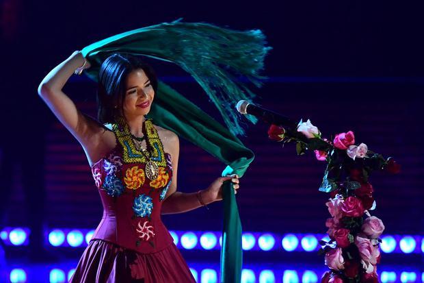 Angela Aguilar durante la 19a edizione dei Latin Grammy Awards a Las Vegas, Nevada, il 15 novembre 2018 (Foto: Robin Beck/AFP)