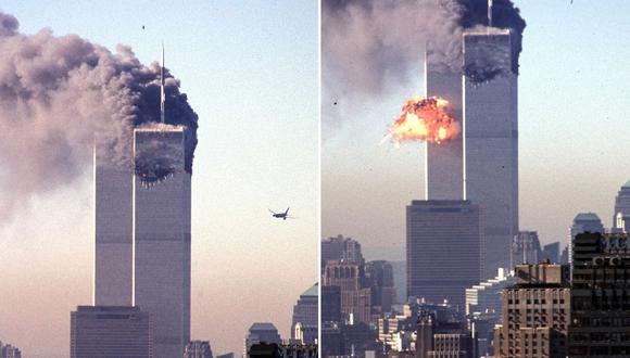 El momento en el que uno de los aviones secuestrados por los terroristas de Al Qaeda se estrella con una de las Torres Gemelas de Nueva York. (AFP).