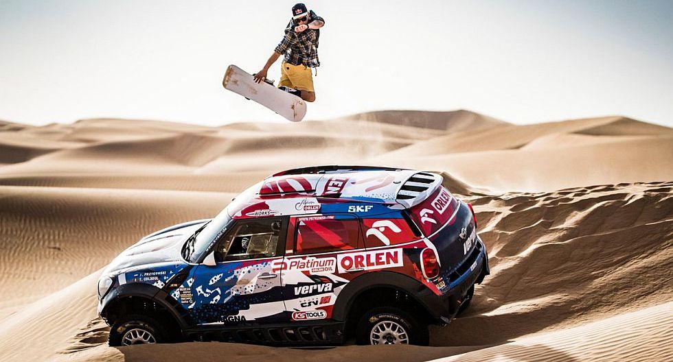 Red Bull junta un auto del Dakar con un snowboarder [VIDEO]