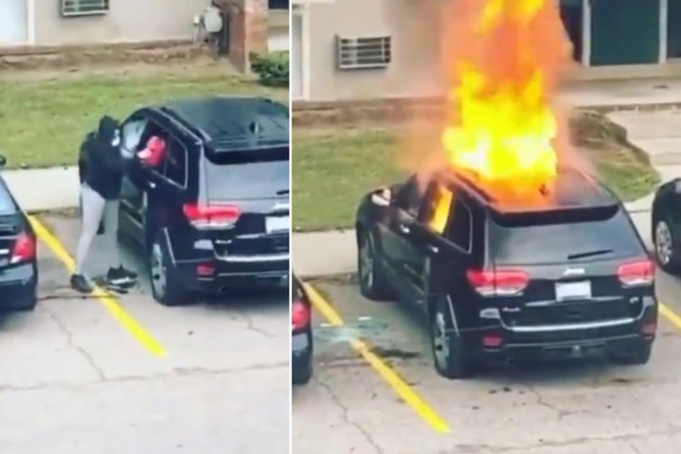 Foto 1 de 3 | La mujer fue captada en video prendiéndole fuego al vehículo de su expareja. | Foto: @BRob_ThatGuy / Twitter. (Desliza hacia la izquierda para ver más fotos)
