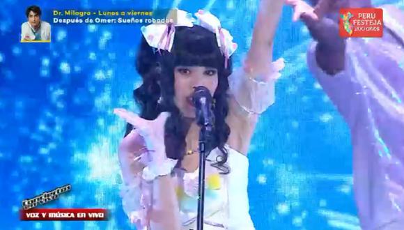 """Karin Idol de """"La Voz Perú"""" emocionó a los entrenadores con temas de """"Dragon Ball"""". (Foto: Captura Latina)."""