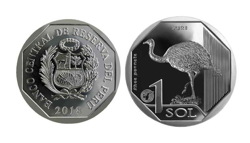"""La séptima moneda de la Serie Numismática """"Fauna Silvestre Amenazada del Perú"""" es alusiva al Suri, el ave más grande de América. Mira en esta galería las monedas de la colección del BCR. (Difusión)"""