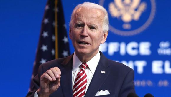 El presidente electo de los Estados Unidos, Joe Biden, pronuncia comentarios sobre la economía de los Estados Unidos durante una conferencia de prensa en el Queen Theatre el 16 de noviembre de 2020 en Wilmington, Delaware. (Joe Raedle/AFP).