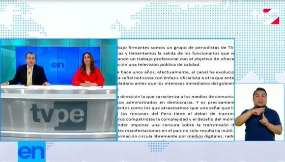 Periodistas de TV Perú emiten comunicado frente a intento de censura. (Foto: Captura de video)