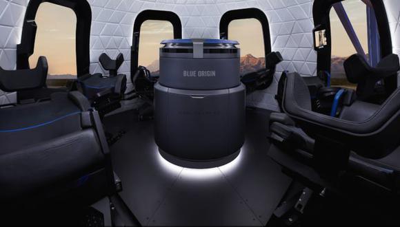 Cápsula para cinco ocupantes del cohete New Shepard. (Blue Origin)