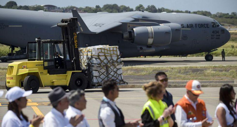 Cúcuta | Llega a Colombia el primer avión militar de Estados Unidos con toneladas de ayuda para Venezuela. (AFP)