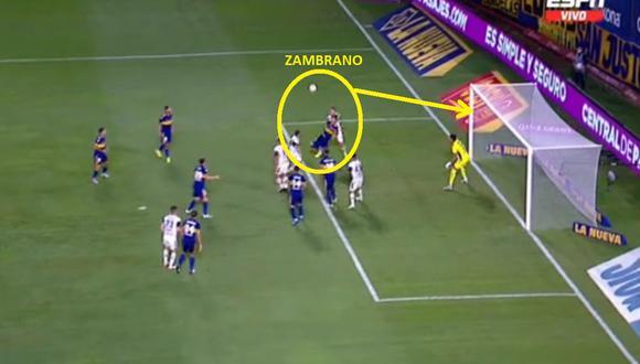 Carlos Zambrano falló en el área de Boca Juniors y Gimnasia empató el partido. (Foto: ESPN)