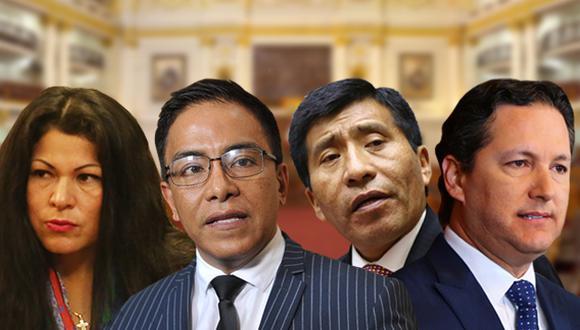 Pleno del Congreso debate informe contra Yesenia Ponce, Roberto Vieira, Moisés Mamani y Daniel Salaverry. (Composición: Pedro Vega / El Comercio)