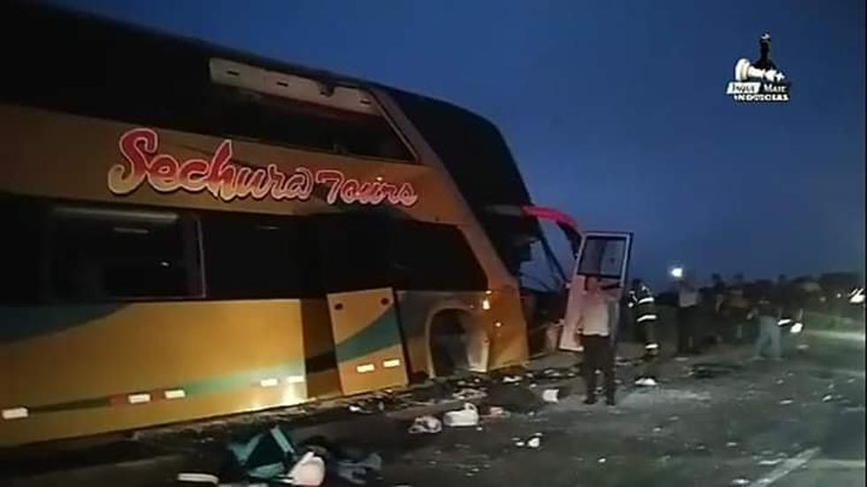 Un accidente vehicular esta madrugada dejó al menos seis fallecidos y 45 heridos a la altura del kilómetro 154 de la Panamericana Norte. (Foto: Podemos Ferreñafe / Facebook)