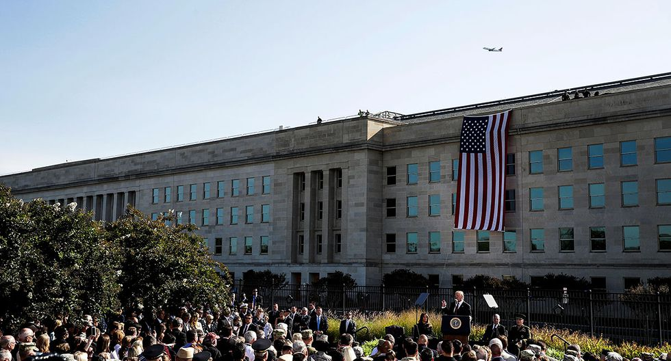 U.S. President Donald Trump speaks during ceremonies marking the 16th anniversary of the September 11 attack at the Pentagon in Arlington, Virginia, U.S., September 11, 2017. REUTERS/Joshua Roberts