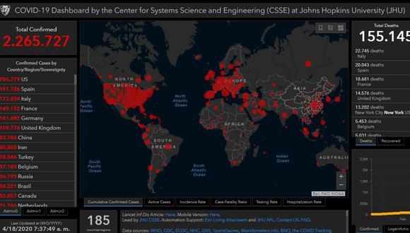 Mapa del coronavirus en el mundo en tiempo real hoy sábado 18 de abril: contagiados y muertos.
