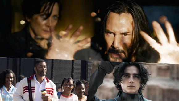 "(Arriba) Keanu Reeves y Carrie-Anne Moss. en una escena de ""Matrix 4"", (izquierda) Will Smith en la cinta ""King Richard"" (derecha) Timothée Chalamet en ""Dune""."