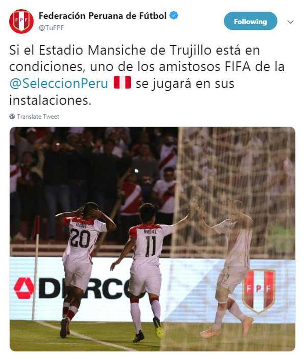 La selección peruana volvería a Trujillo para disputar un amistoso internacional. (Foto: GEC)