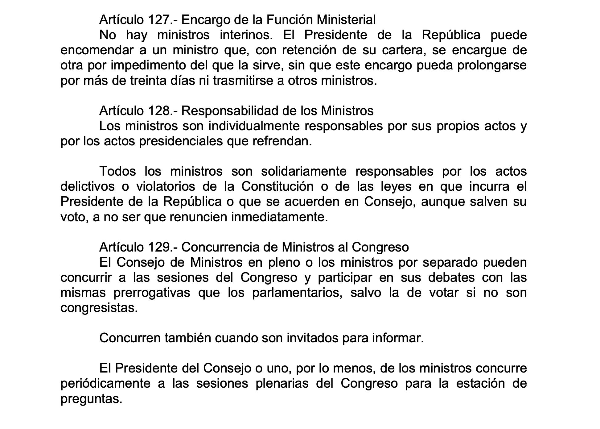 Artículo 128 de la Constitución Política del Perú.