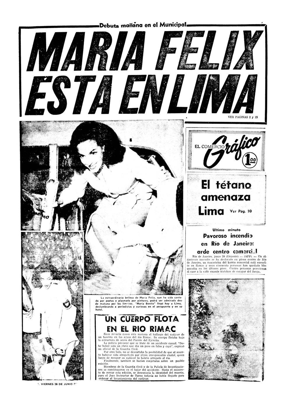 Portada de Gráfico, el periódico popular más vendido de la época también se rindió ante los encantos de 'María bonita'. (Foto: Edición del 29 de junio de 1963)