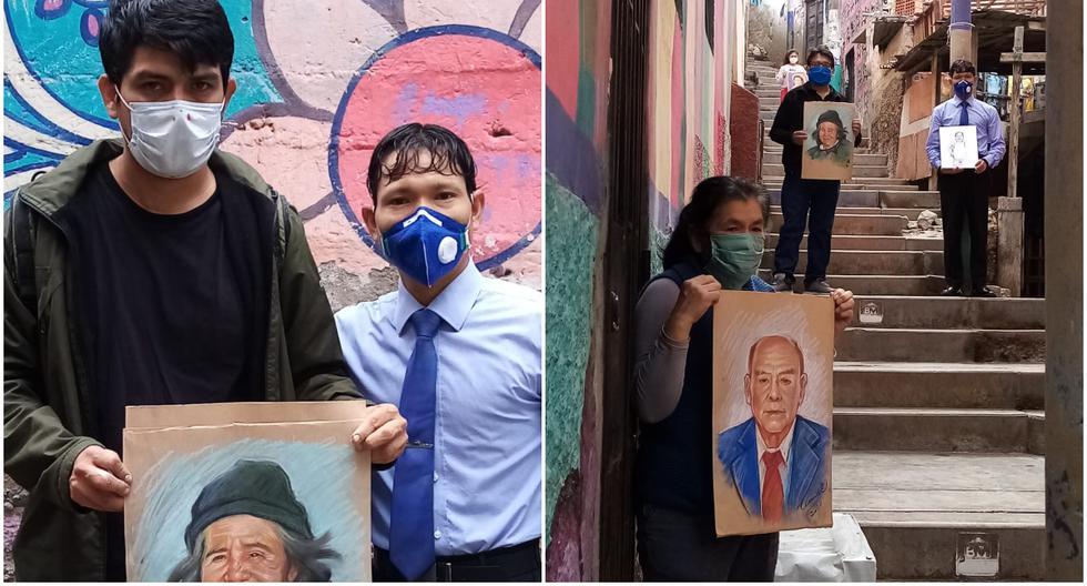 Daniel Manrique (de polo negro, a la izquierda), un artista de 35 años, no quiere que la muerte de sus vecinos del asentamiento humano Leticia, en el corazón del Rímac, pase desaperciba y protesta de esta manera contra las personas que actúan con irresponsabilidad. (Archivo personal)