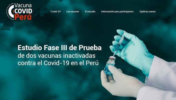 Así se ve el portal habilitado por la Universidad San Marcos y la Cayetano Heredia. Entre las dos escogerán a 6 mil participantes de los ensayos clínicos. (Captura)