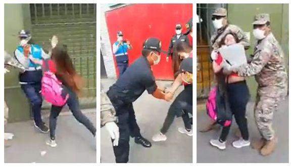 Mujer lanzó golpes y patadas a fiscalizador, militares y policías para evitar ser intervenida en La Victoria. (Captura: América Noticias)