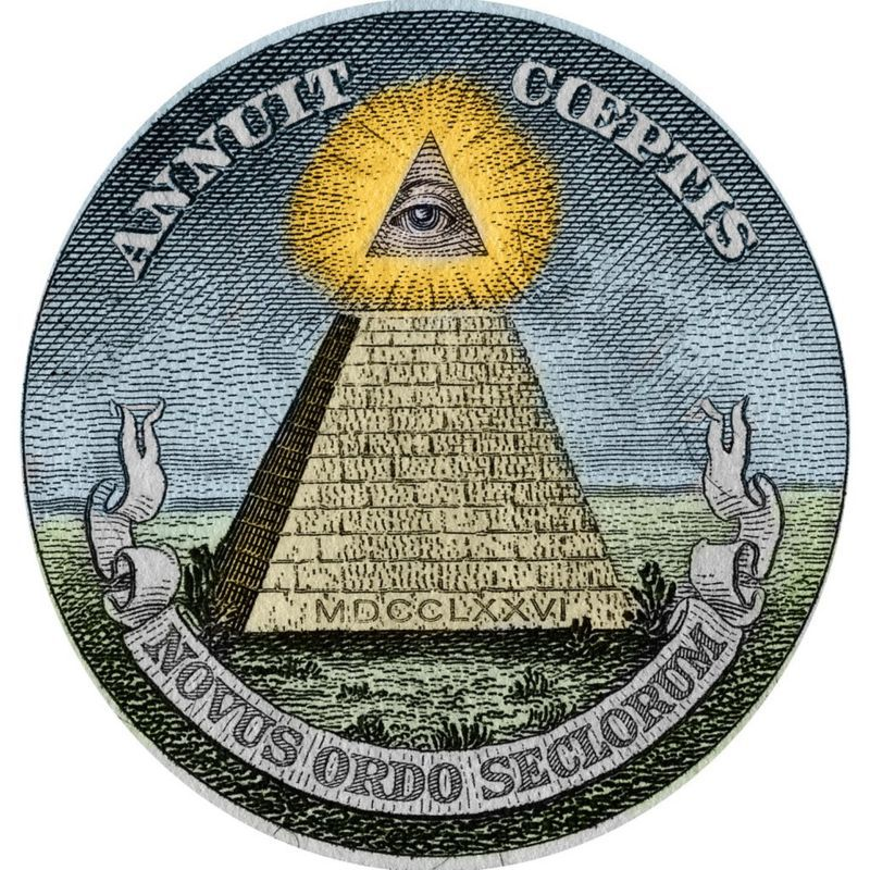 The pyramid and the all-seeing eye, symbols used on the Great Seal of the United States and printed on American paper money.