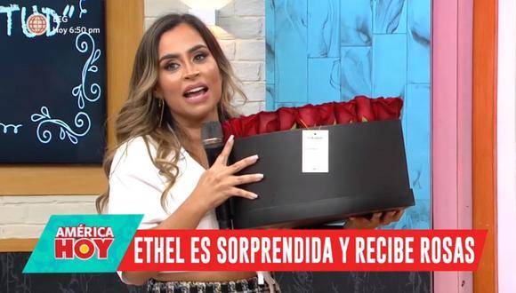 """Ethel Pozo fue sorprendida por su pareja con tierno detalle en """"América Hoy"""". (Foto: Captura de video)"""