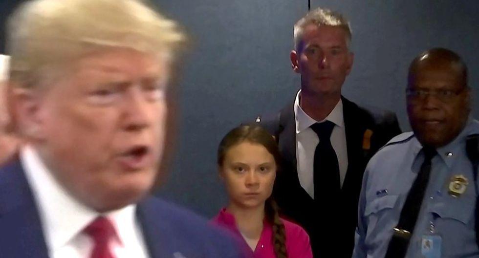 La agencia Reuters alcanzó a registrar el rostro de Thnberg al ver llegar a Trump. Captura de pantalla / Reuters, vía El Universal/ GDA