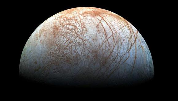 Imagen de Europa hecha a partir de fotografías tomadas por la nave espacial Galileo a fines de la década de 1990. (Foto: NASA/JPL)