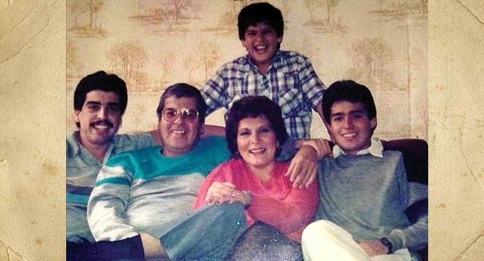 Enory Bisso de Ortiz, pero todos le dicen Pocha. La foto debe ser de 1986 o 1987. Tenía 38 años. Aquí está con sus hijos Bruno (arriba), Pedro (izquierda), su esposo (Pedro Ortiz Ruiz) y su hijo Juan Carlos.