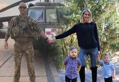 La singular manera en la que una mujer incluyó a su esposo militar en la postal familiar por Navidad