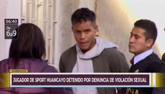 Futbolista del club Sport Huancayo Luis Enrique Campos Mendiola, fue detenido tras ser denunciado por el delito de violación sexual. (Captura: Canal N)