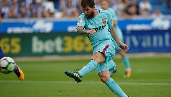 El astro argentino, Lionel Messi, abrió el marcador en la visita del Barcelona al Deportivo Alavés por la segunda fecha de la liga española. (Foto: AFP)