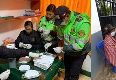 Huánuco: Policías confeccionan 500 mascarillas para ancianos que hacían cola en el banco | FOTOS
