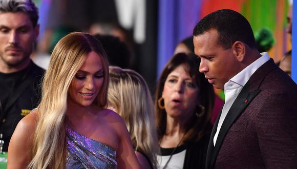 Jennifer Lopez y Alex Rodríguez. (Foto. AFP | Angela Weiss)