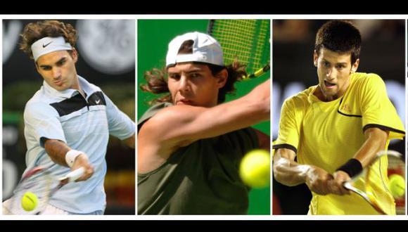 Rafel Nadal, Roger Federer y Novak Djokovic. (Foto: AFP)