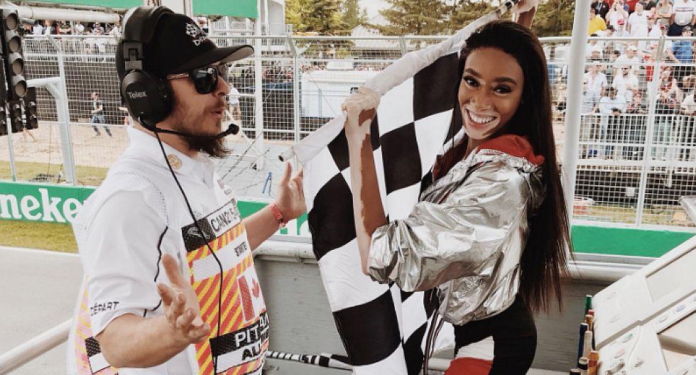 Un bochornoso momento se vivió en el GP de Canadá de la Fórmula 1, cuando la modelo Winnie Harlow agitó la bandera a cuadros antes de finalizar la carrera. (foto: Twitter/Winnie Harlow)