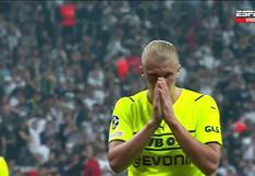 Haaland también falla: no pudo anotar con el arco vacío en la Champions League | VIDEO