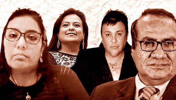 El Ministerio Público ha solicitado nueve meses de prisión preventiva para Morales, Cisneros y Vásquez. Y comparecencia con restricciones para Karem Roca (izq.). (Foto: El Comercio)