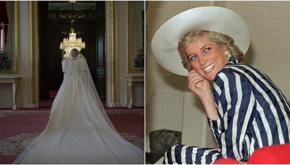 """A la izquierda, la Princesa Diana en su boda; tal y como muestra """"The Crown"""" temporada 4. A la derecha, una de las últimas fotos de la recordada exesposa del Príncipe Carlos. Fotos: Netflix/ Patrick Riviere para AFP."""