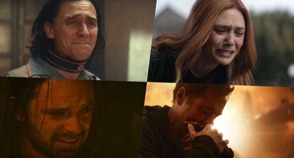 En sentido horario Loki (Tom Hiddleston), Wanda Maximoff (Elizabeth Olsen), Tony Stark (Robert Downey Jr.) y Bucky Barnes (Sebastian Stan); en los momentos más complicados que han pasados sus personajes en el Universo Cinematográfico de Marvel. Foto: Disney+.