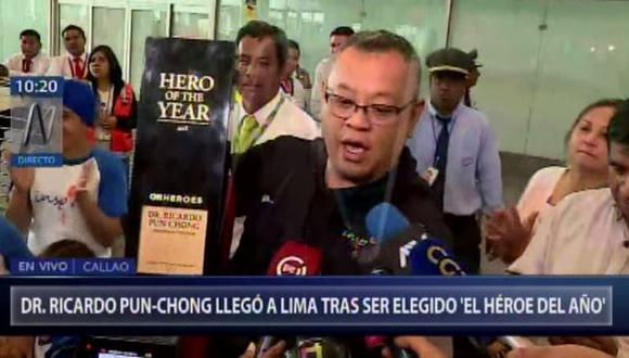 Ricardo Pun-Chong fue nombrado el último domingo como Héroe del Año de la CNN en 2018.(Captura: Canal N)