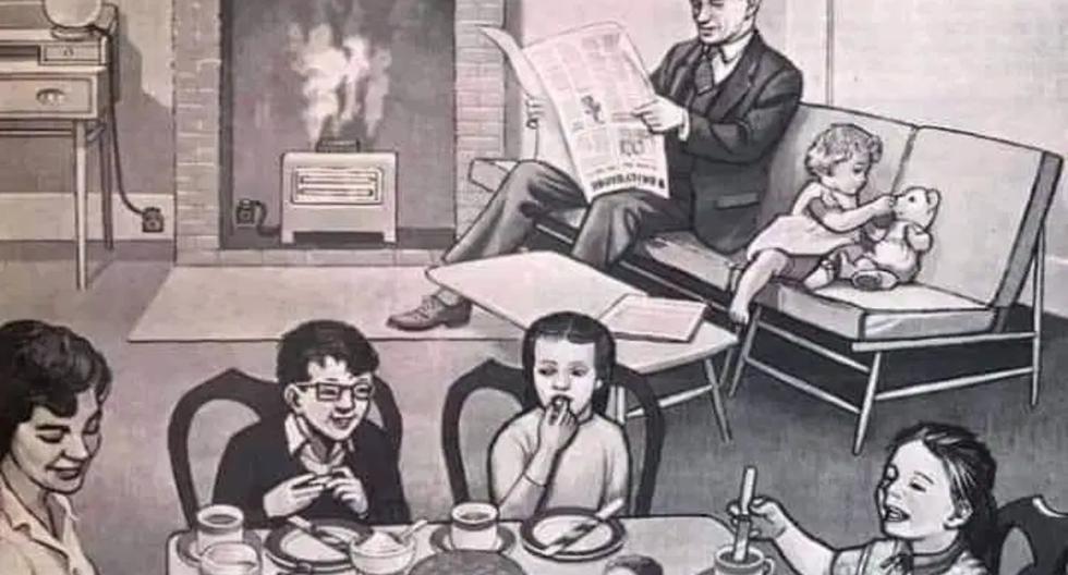 Un reto viral de Facebook pone a prueba la visión de los usuarios al pedirles que encuentren las diferencias en el dibujo de un retrato de una familia estadounidense de la década de 1950. (Foto: Isolation Nation en Facebook)