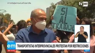 Transportista protestan frente al MTC y piden que se reinicien los viajes interprovinciales